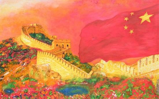 红色长城手绘素材