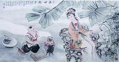 特别是在创作传统题材如《八仙过海》,《三星高照》,《百子图》等作品