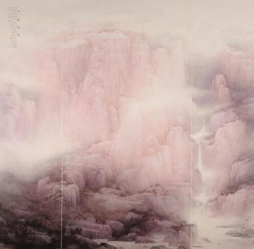 从而,他用黑白灰的构成形式,转述了传统山水的皴法程式.